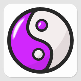 Glossy Purple Yin Yang in Balance Square Stickers