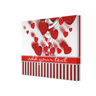 Glossy Red Hearts Silver Liquid Swirl Gray Stripes Gallery Wrapped Canvas