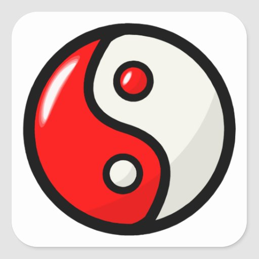 Glossy Red Yin Yang in Balance Stickers