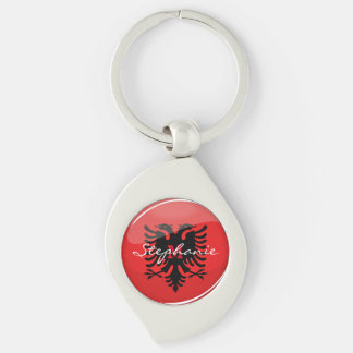 Glossy Round Albanian Flag Silver-Colored Swirl Key Ring