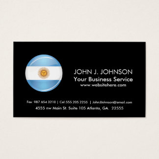 Glossy Round Argentina Flag Business Card