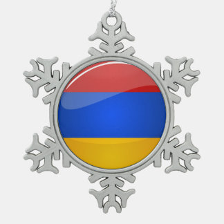 Glossy Round Armenia Flag Snowflake Pewter Christmas Ornament