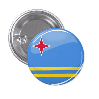 Glossy Round Aruban Flag 3 Cm Round Badge