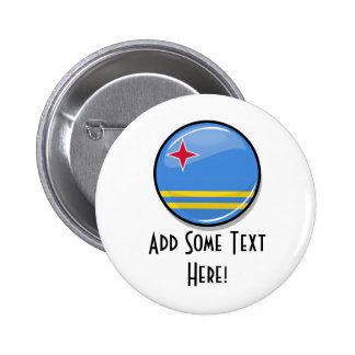 Glossy Round Aruban Flag 6 Cm Round Badge