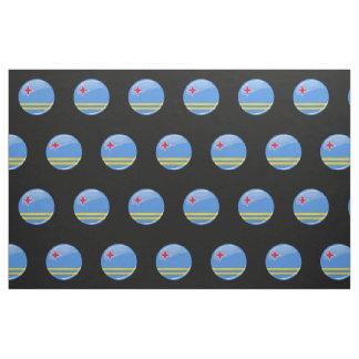 Glossy Round Aruban Flag Fabric