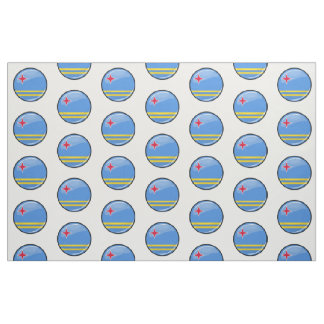 Glossy Round Aruban Flag Fabric