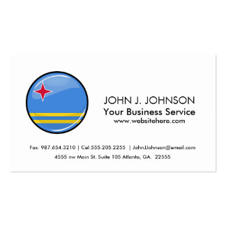 Glossy Round Aruban Flag Pack Of Standard Business Cards
