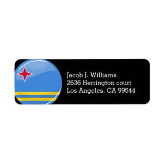 Glossy Round Aruban Flag Return Address Label
