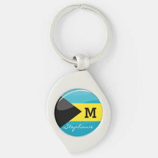 Glossy Round Bahamian Flag Keychain