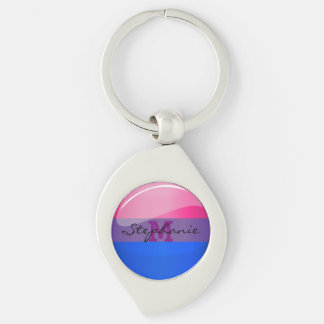 Glossy Round Bisexuality Flag Silver-Colored Swirl Key Ring