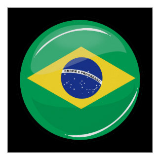 Glossy Round Brazilian Flag Poster