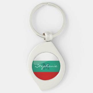 Glossy Round Bulgarian Flag Silver-Colored Swirl Keychain