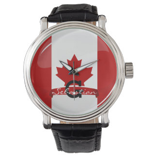 Glossy Round Canadian Flag Watch