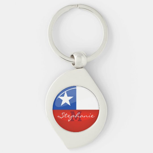 Glossy Round Chilean Flag Silver-Colored Swirl Key Ring