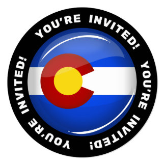 Glossy Round Colorado Flag 13 Cm X 13 Cm Square Invitation Card