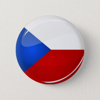 Glossy Round  Czech Rep. Flag 6 Cm Round Badge