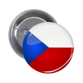 Glossy Round  Czech Rep. Flag 6 Cm Round Badge