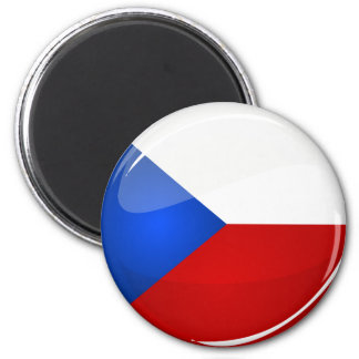 Glossy Round Czech Rep. Flag Magnet