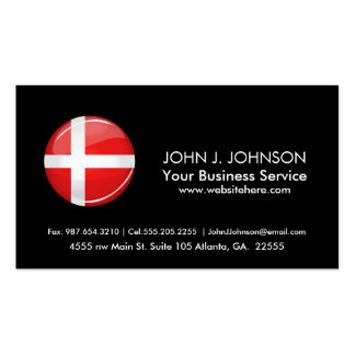 Glossy Round Denmark Flag Pack Of Standard Business Cards