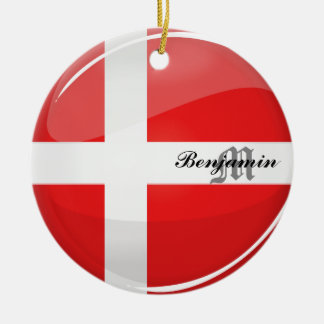Glossy Round Denmark Flag Double-Sided Ceramic Round Christmas Ornament