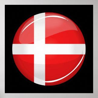 Glossy Round Denmark Flag Poster