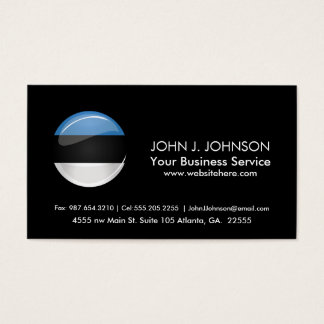 Glossy Round Estonian Flag Business Card
