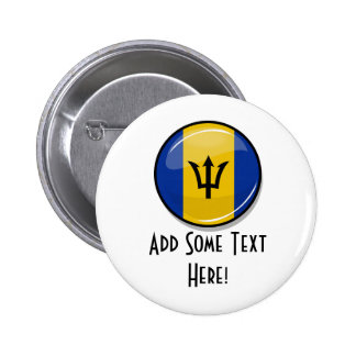 Glossy Round Flag of Barbados 6 Cm Round Badge