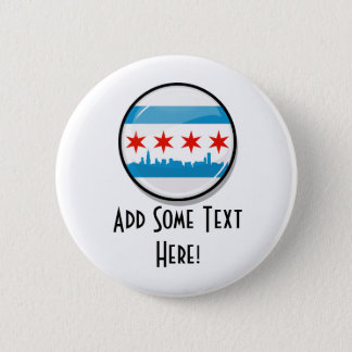 Glossy Round Flag of Chicago 6 Cm Round Badge