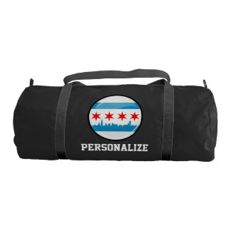Glossy Round Flag of Chicago Gym Duffel Bag