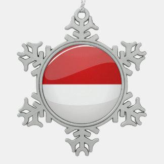 Glossy Round Flag of Poland Snowflake Pewter Christmas Ornament