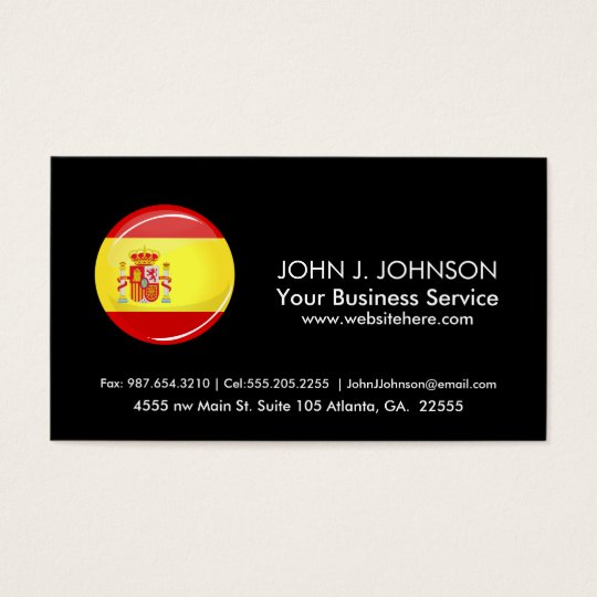 Glossy Round Flag of Spain Business Card