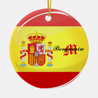 Glossy Round Flag of Spain Double-Sided Ceramic Round Christmas Ornament