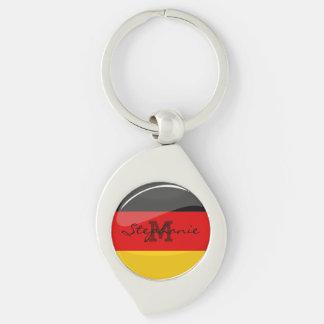 Glossy Round German Flag Silver-Colored Swirl Keychain