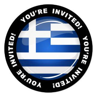 "Glossy Round Greece Flag 5.25"" Square Invitation Card"