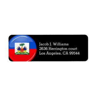 Glossy Round Haitian Flag Return Address Label
