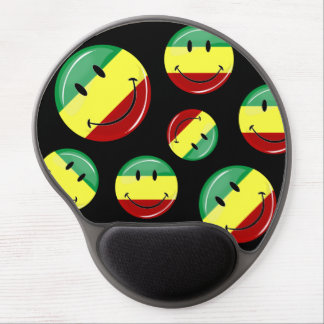 Glossy Round Happy Rasta Flag Gel Mouse Pad