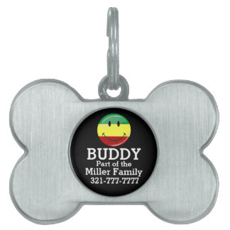 Glossy Round Happy Rasta Flag Pet Name Tag