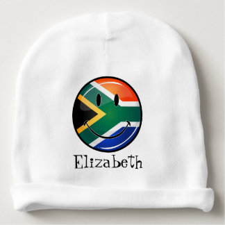 Glossy Round Happy South African Flag Baby Beanie