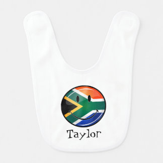 Glossy Round Happy South African Flag Baby Bib