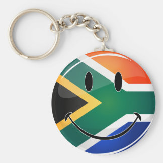 Glossy Round Happy South African Flag Basic Round Button Key Ring