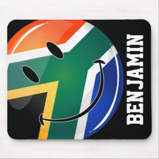 Glossy Round Happy South African Flag Mouse Mat