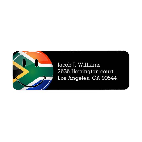 Glossy Round Happy South African Flag Return Address Label