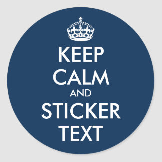 Glossy round keep calm and carry on blue stickers
