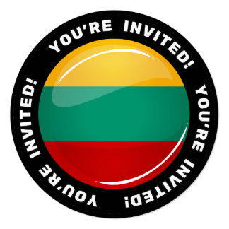 Glossy Round Lithuanian Flag 5.25x5.25 Square Paper Invitation Card