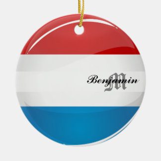Glossy Round Luxembourg Flag Round Ceramic Ornament