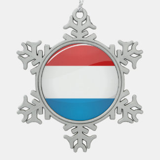 Glossy Round Luxembourg Flag Snowflake Pewter Christmas Ornament