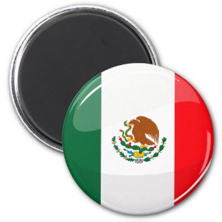 Glossy Round Mexican Flag 6 Cm Round Magnet