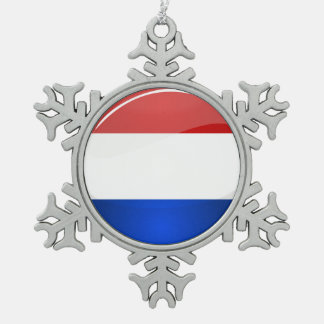 Glossy Round Netherlands Flag Snowflake Pewter Christmas Ornament