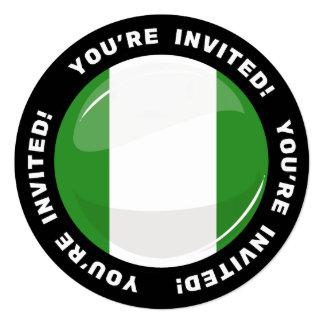 Glossy Round Nigerian Flag 13 Cm X 13 Cm Square Invitation Card