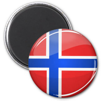 Glossy Round Norway Flag Magnet